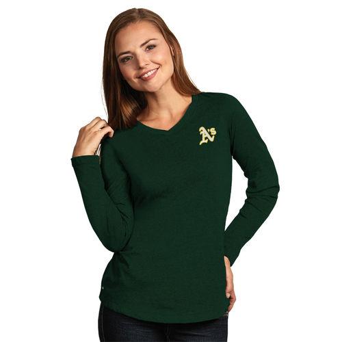 Women's Antigua Heather Green Oakland Athletics Flip Long Sleeve T-Shirt