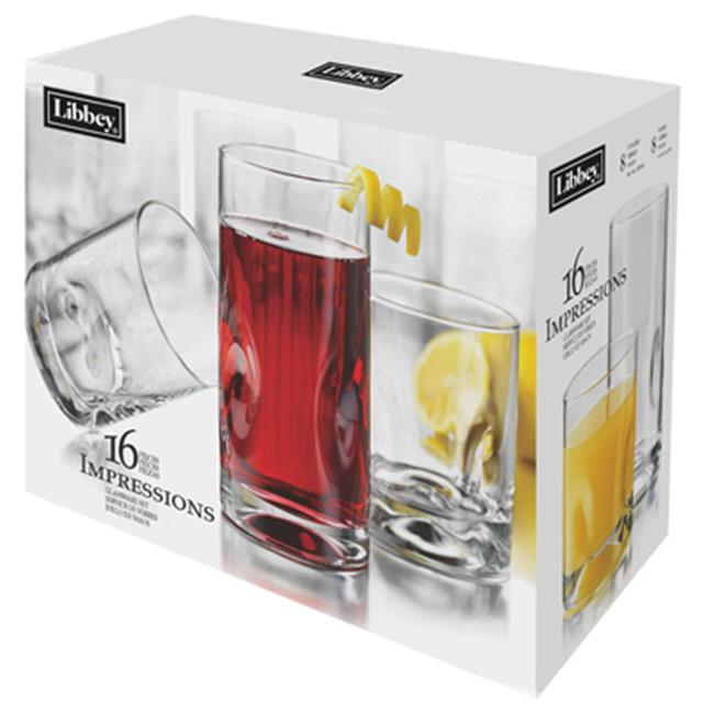 Libbey Glass 1786426 16 Piece Clear Tumbler Set