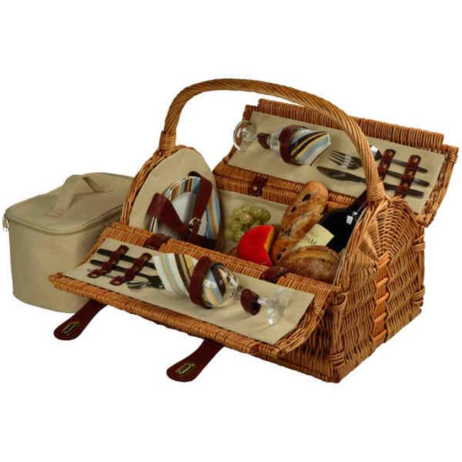 Yorkshire Picnic Basket for 4-Wicker-SC Stripe by GameOver