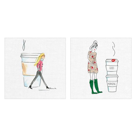 Masterpiece Art Gallery Two Cupper and Morning Coffee by Street Studio Illustration Sketches Canvas Art Print Set of 2
