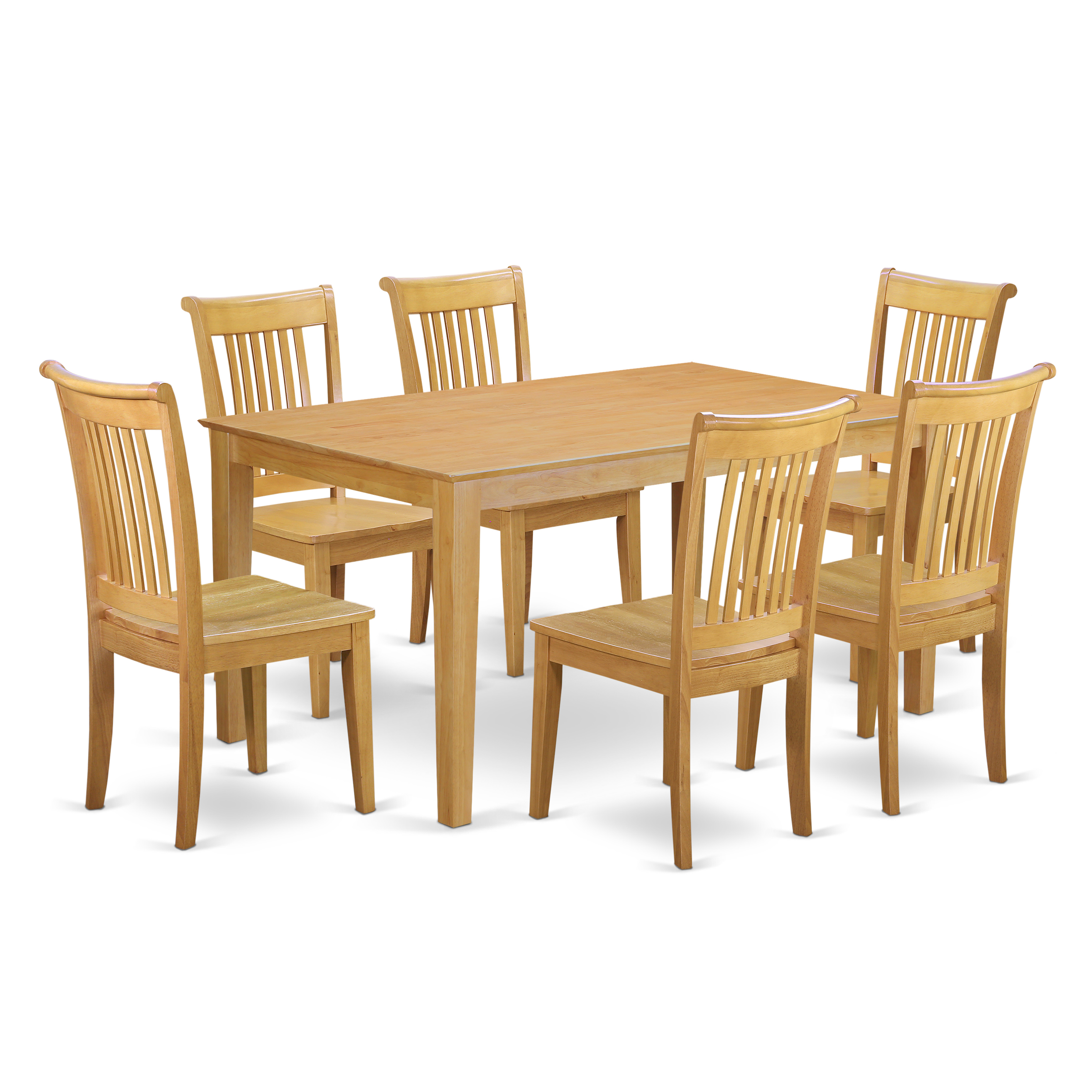 strong dining room chairs | East West Furniture CAPO7-OAK-W 7 Piece dining table set ...