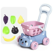 Kids Supermarket Shopping Groceries Cart Trolley Toys For Girls Kitchen Play House Simulation Fruits Pretend Baby Toy