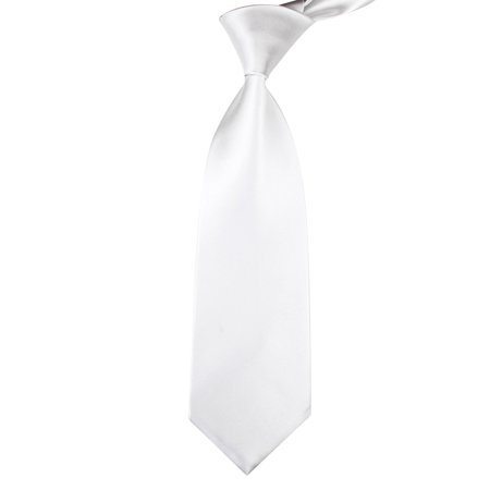 TopTie Solid Neck Ties, Multiful Color Formal Necktie, Cancer Awareness Color-White