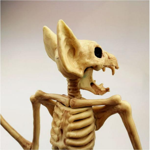 Hallowen Creepy Bat Skeleton Hanging Upside Down Halloween Animal Prop Haunted House Decor