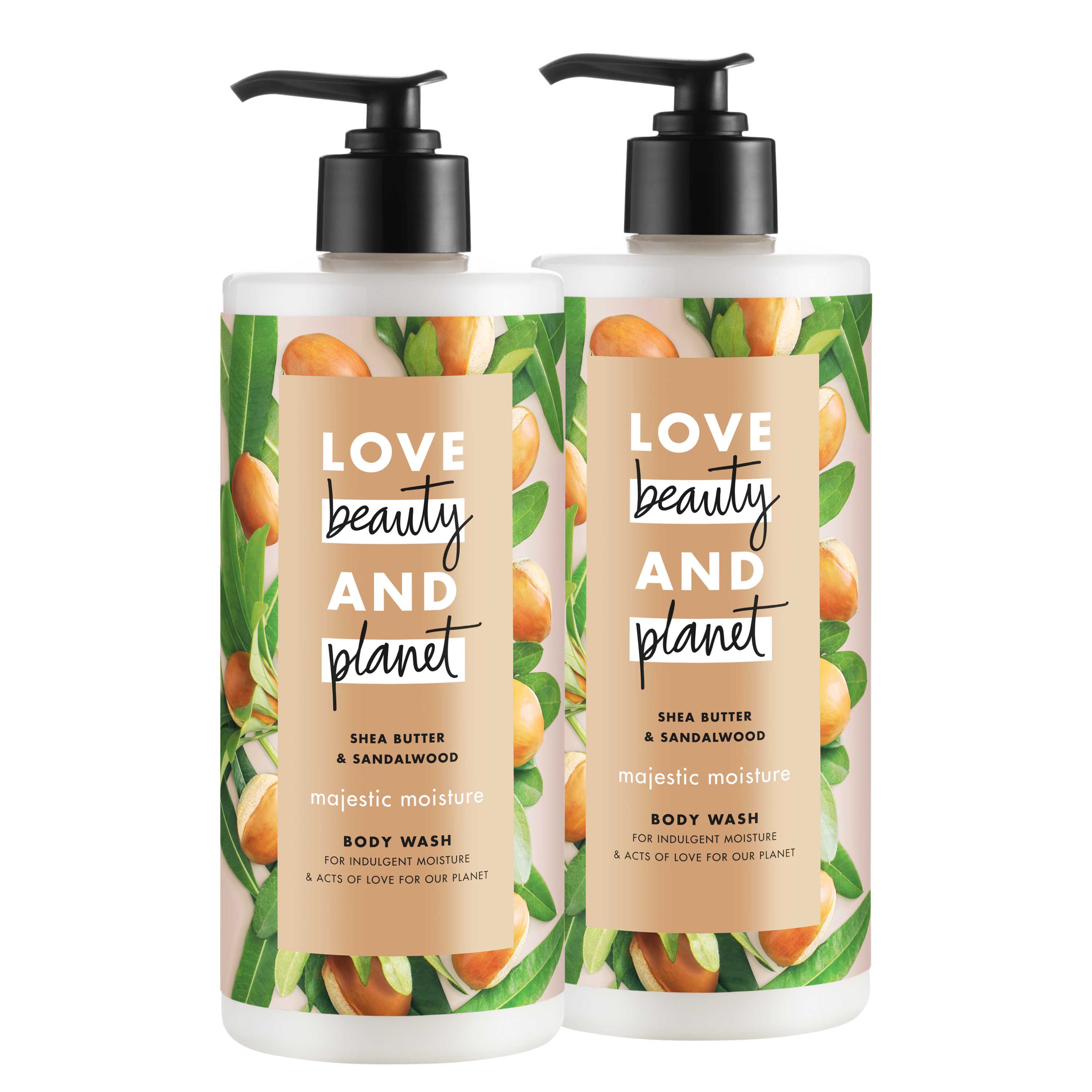 Love Beauty And Planet Shea Butter & Sandalwood, Vegan, Paraben Free, and Sulfate Free, Majestic Moisture Body Wash, 16 oz, 2 count