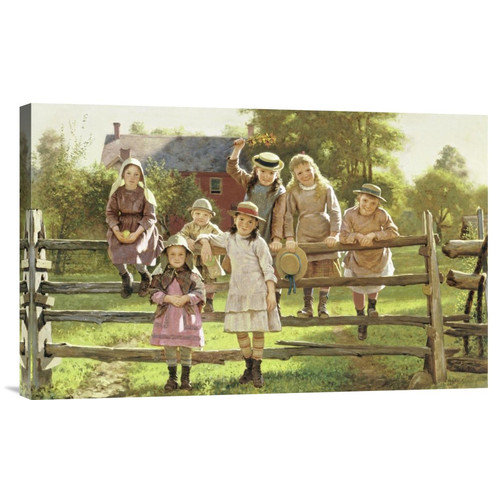 Global Gallery 'Watching The Train' by John George Brown Painting Print on Wrapped Canvas