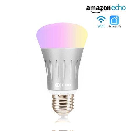 HURRISE Wifi Light Bulb LED Bulb E27 7W Dimmable Night Light Wireless Wi-Fi RGB Multi-color