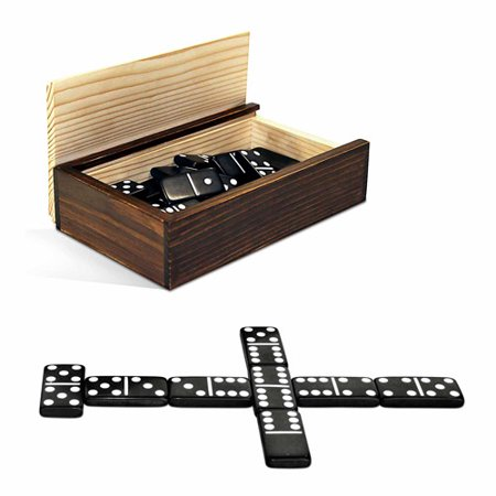 Double 6 Black Dominoes with White Dots in Wooden Case