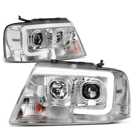 For 04 To 08 Ford F150 Lincoln Mark Lt Led Drl Light Bar Projector Headlight Chrome Housing Clear Corner Headlamp 05 06 07