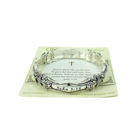 Beautiful John 3:16 Christian Silver Tone Stretch Bracelet - John Wind Halloween Bracelet