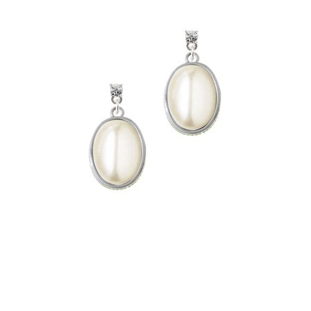 Silvertone Small Cream Imitation Pearl Clear Crystal Post Earrings