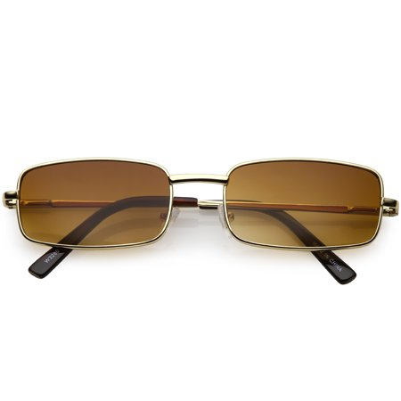 Classic Small Metal Rectangle Sunglasses Neutral Colored Flat Lens 54mm (Gold / Amber)