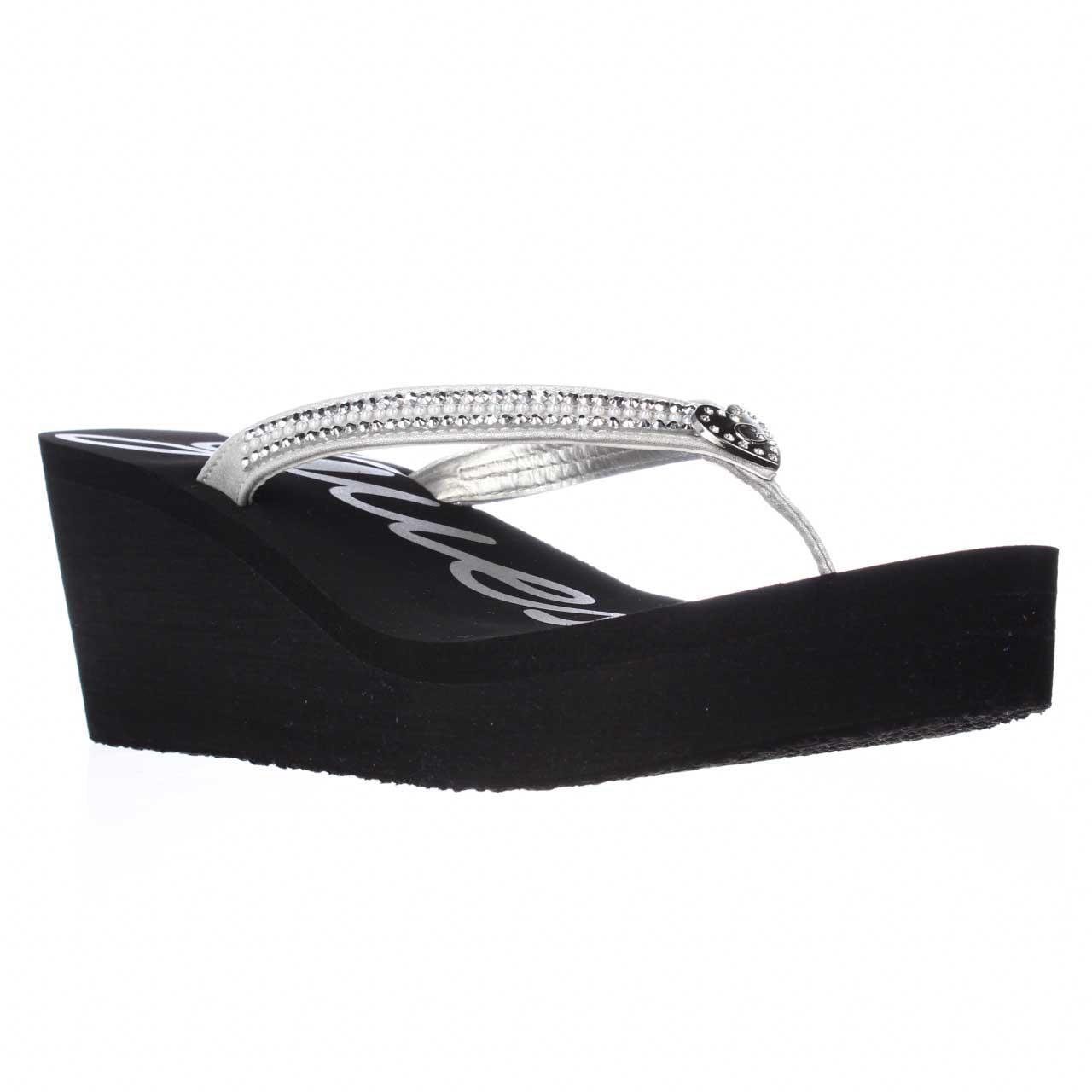 guess black wedge flip flops
