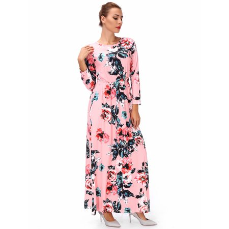 SAYFUT Juniors' Plus Floral Maxi Dress Hight Waistline Long Sleeve  Round Neck Dresses Casual Beach With Pocket