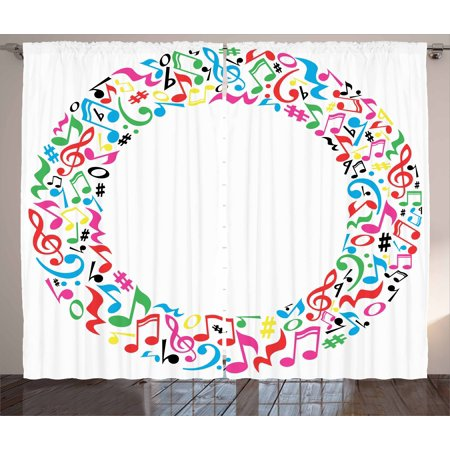 Letter O Curtains 2 Panels Set, O Character Capitalized with Collection of Multicolored Musical Elements Alphabet, Window Drapes for Living Room Bedroom, 108W X 63L Inches, Multicolor, by Ambesonne