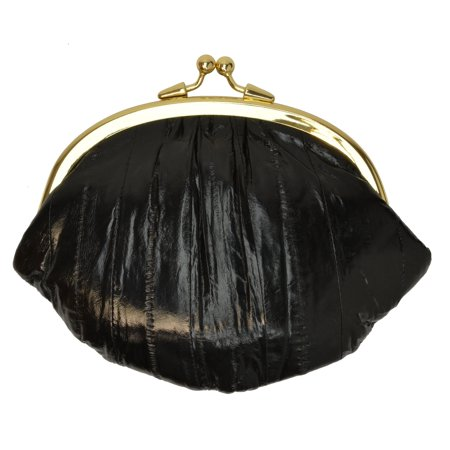 Eel Skin Large Double Coin Purse Change Wallet E 10 BIG ()
