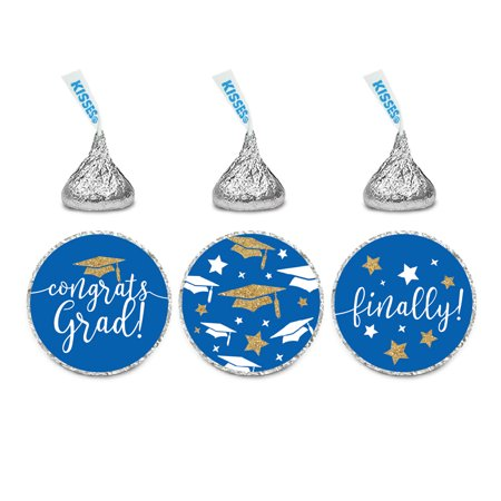 Bc Sticker - Royal Blue and Gold Glittering Graduation, Chocolate Drop Label Stickers Trio, 216-Pack