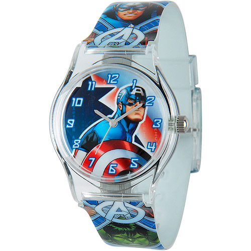 Marvel Captain America Boys' Plastic Case Watch, Printed Plastic Strap