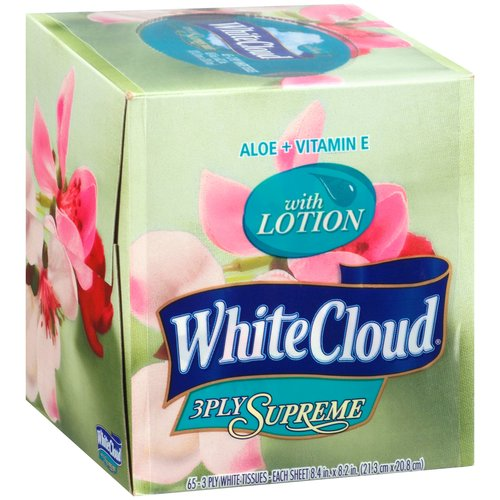 White Cloud Supreme Tissues with Lotion, 65 count