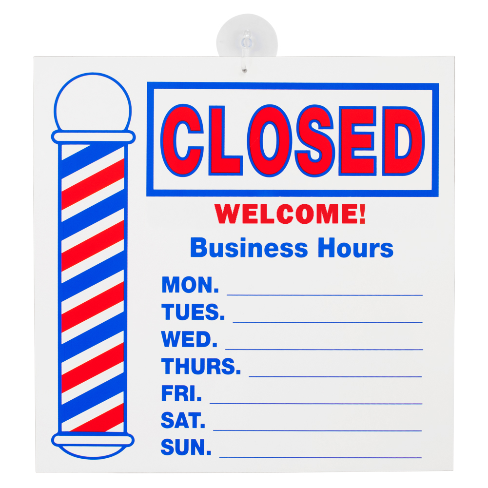 "ScalpMaster 16"" x 16"" Barber Shop Double Sided Open/Closed Business Hours Sign, SC-9016"