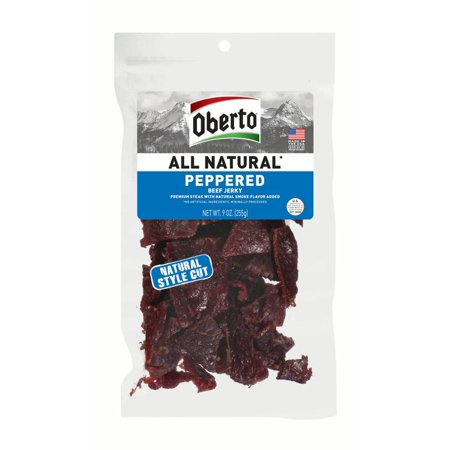 Oberto All Natural Style Cut Peppered Beef Jerky, 9
