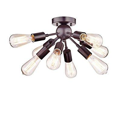 Dazhuan Vintage Antique Metal Orb Sputnik Chandeliers 8 Lights Semi Flush Mount Pendant Ceiling Light Lamp