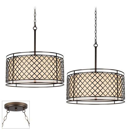 Franklin Iron Works Lattice Bronze Double Multi Light Pendant ()