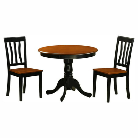 East West Furniture Antique 3 Piece Pedestal Round Dining Table Set with Wooden Seat ()