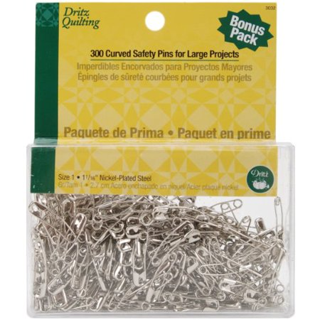 Dritz Quilting Basting Pins - Dritz Quilting 3032 Curved Basting Pins Bonus Pack. Size 1. 300 Count