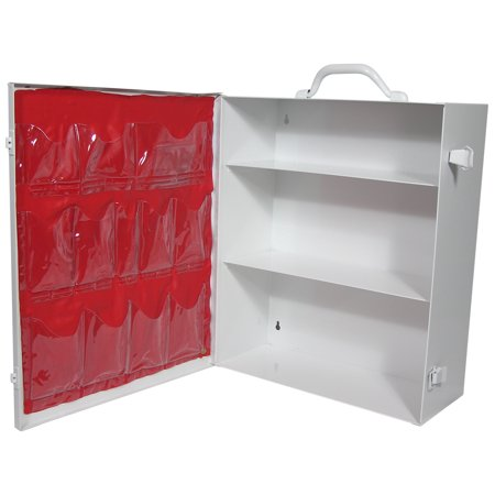 Empty Three-Shelf Industrial First Aid Metal Cabinet w/door pouch (First Cabinet)