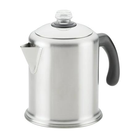 Farberware 8-Cup Stainless Steel Coffee Percolator, Brushed Stainless Steel Stainless Coffee Percolator