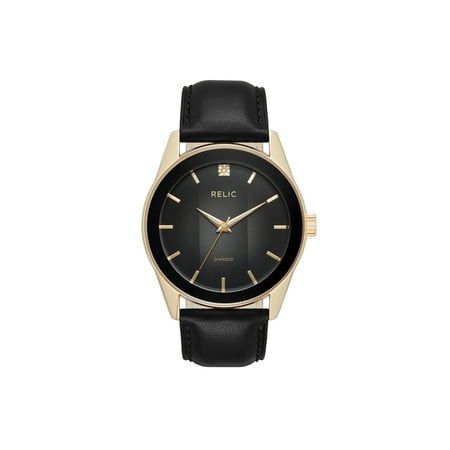 Relic by Fossil Men's Rylan Gold and Black Leather Diamond Accent (Guess Black Diamond Accent Watch)