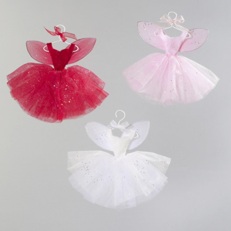 "Kurt Adler 3ct Fairy Whispers Dress Christmas Ornament Set 6"" - Pink/Red"