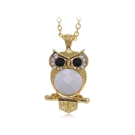 Cute Big Black Eyed White Belly Owl Clear Rhinestone Gold Tone Fashion Necklace