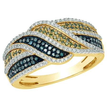 Blue, Green & White Natural Diamond Waves Ring in 10k Yellow