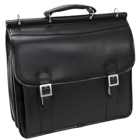 McKlein HALSTED, Double Compartment Laptop Briefcase, Top Grain Cowhide Leather, Black