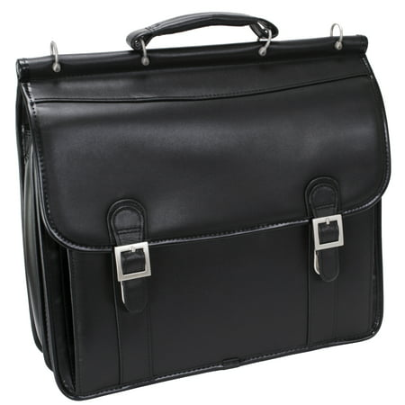 Usa Genuine Briefcase (McKlein HALSTED, Double Compartment Laptop Briefcase, Top Grain Cowhide Leather, Black (80335) )