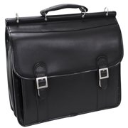 McKlein HALSTED, Double Compartment Laptop Briefcase, Top Grain Cowhide Leather, Black (80335)