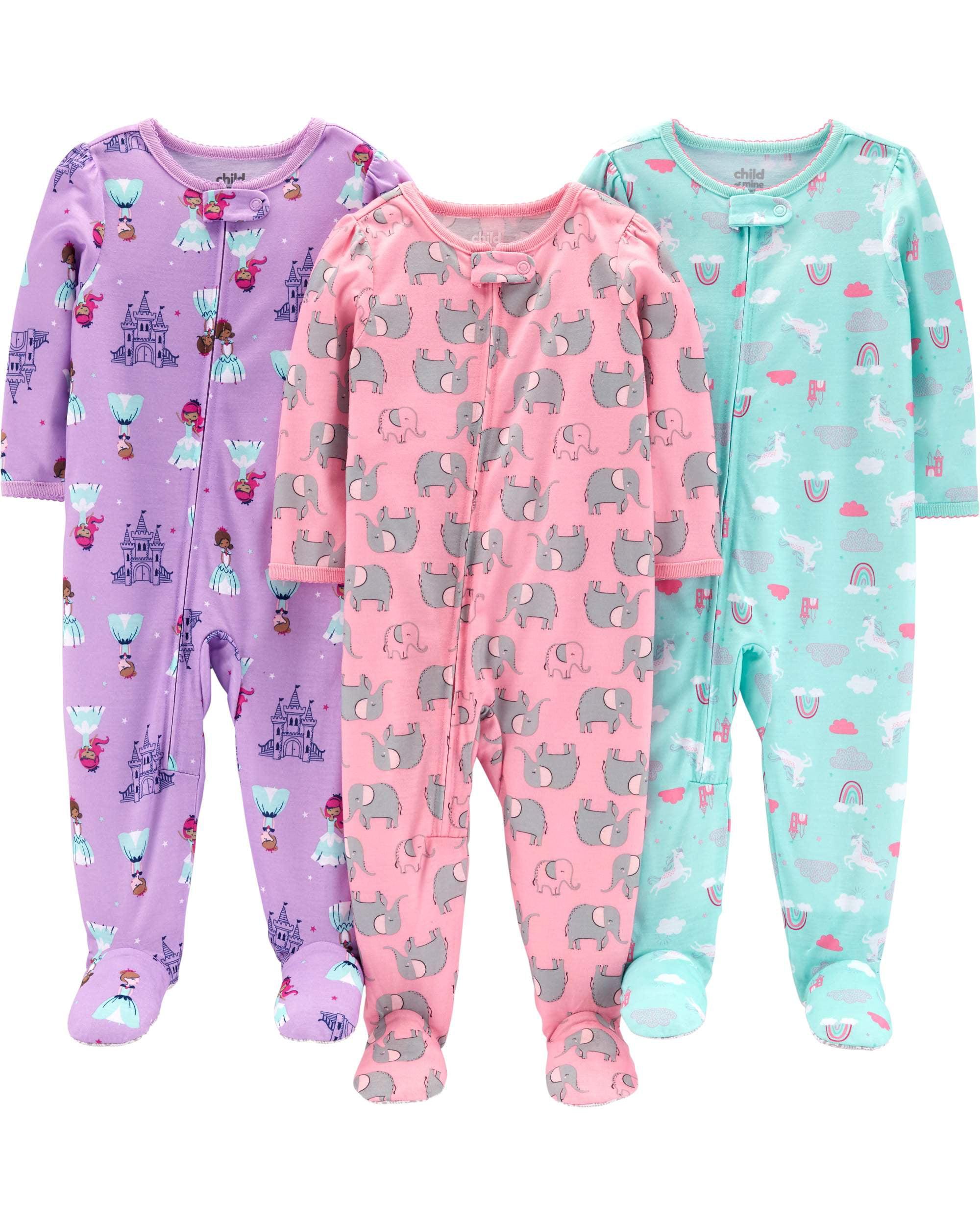 Long Sleeve Footed Pajamas Bundle, 3 pack (Toddler Girls)