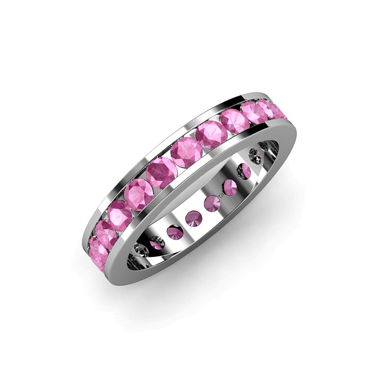 Pink Sapphire Channel Set Eternity Band 2.86 ct tw to 3.36 ct tw in 14K White Gold.size 6.5 by TriJewels