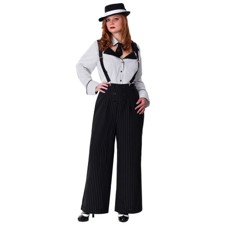 Plus Size Pinstripe Gangster Costume - Mob Gangster Costumes