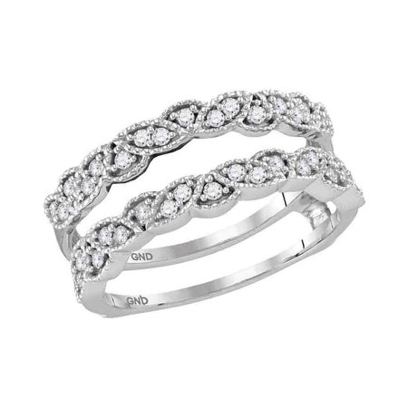 Diamond Ring Wrap Guard Insert - 14kt White Gold Womens Round Diamond Milgrain Wrap Ring Guard Enhancer Wedding Band 1/3 Cttw