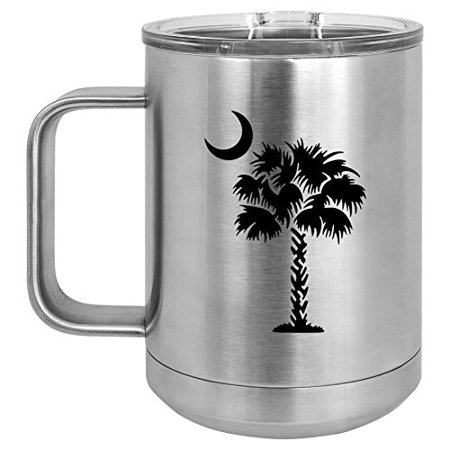 15 oz Tumbler Coffee Mug Travel Cup With Handle & Lid Vacuum Insulated Stainless Steel Palmetto Tree South Carolina Palm Moon (Silver)