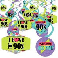 90's Throwback - 1990s Party Hanging Decor - Party Decoration Swirls - Set of 40