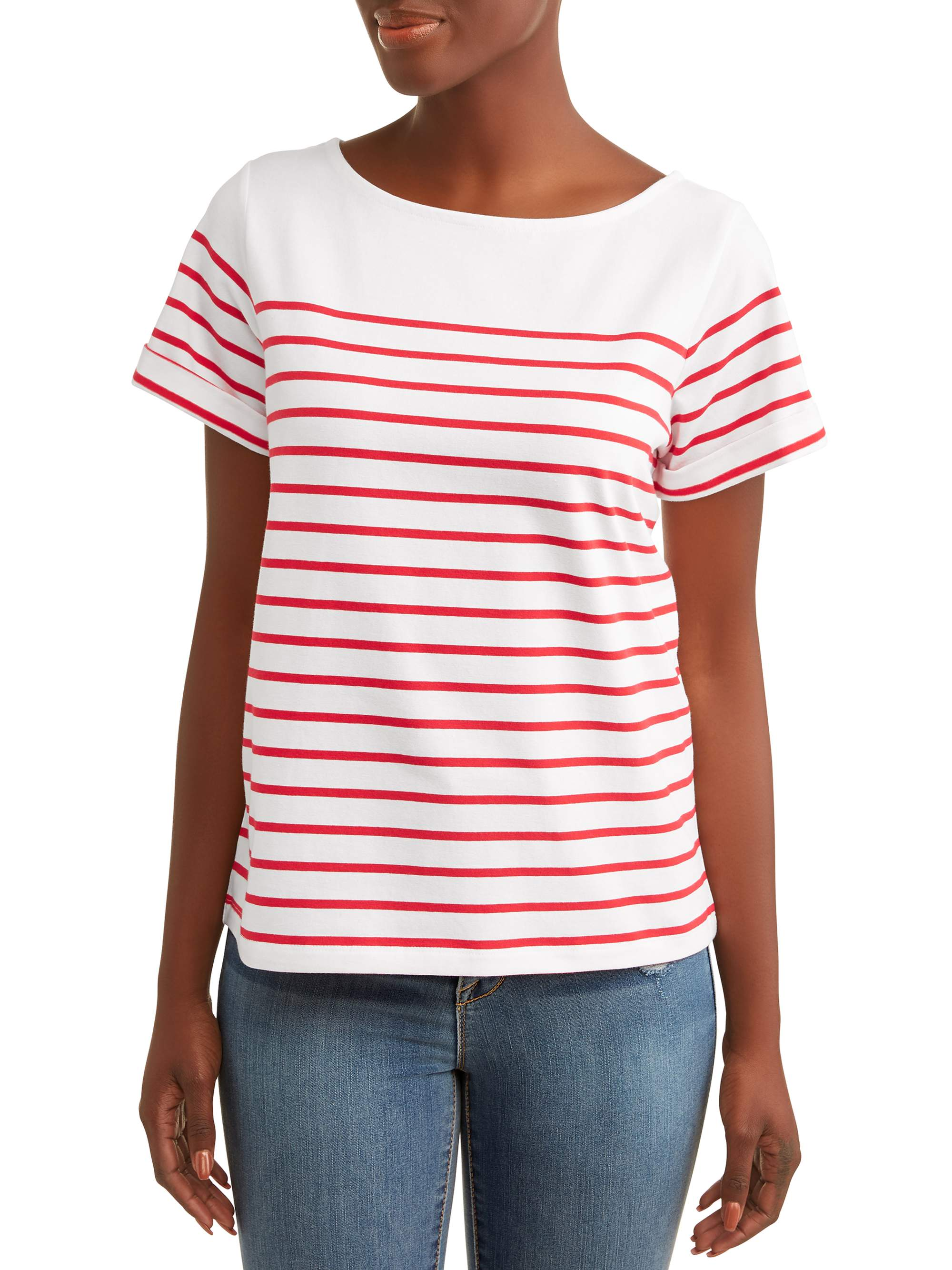 Women's Short Sleeve Boatneck Top
