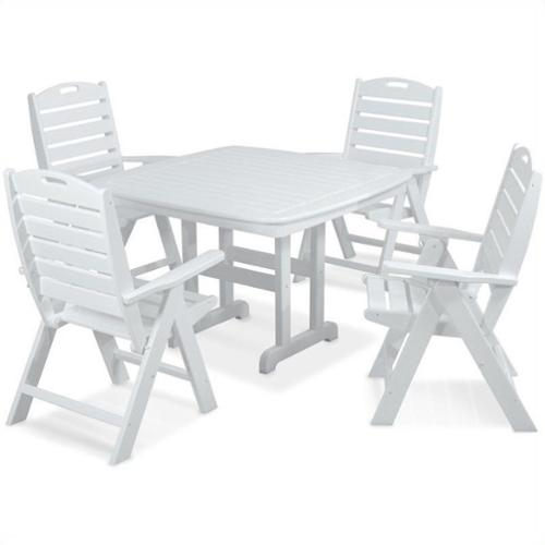 Polywood Nautical 5 Piece Wood Patio Dining Set in White