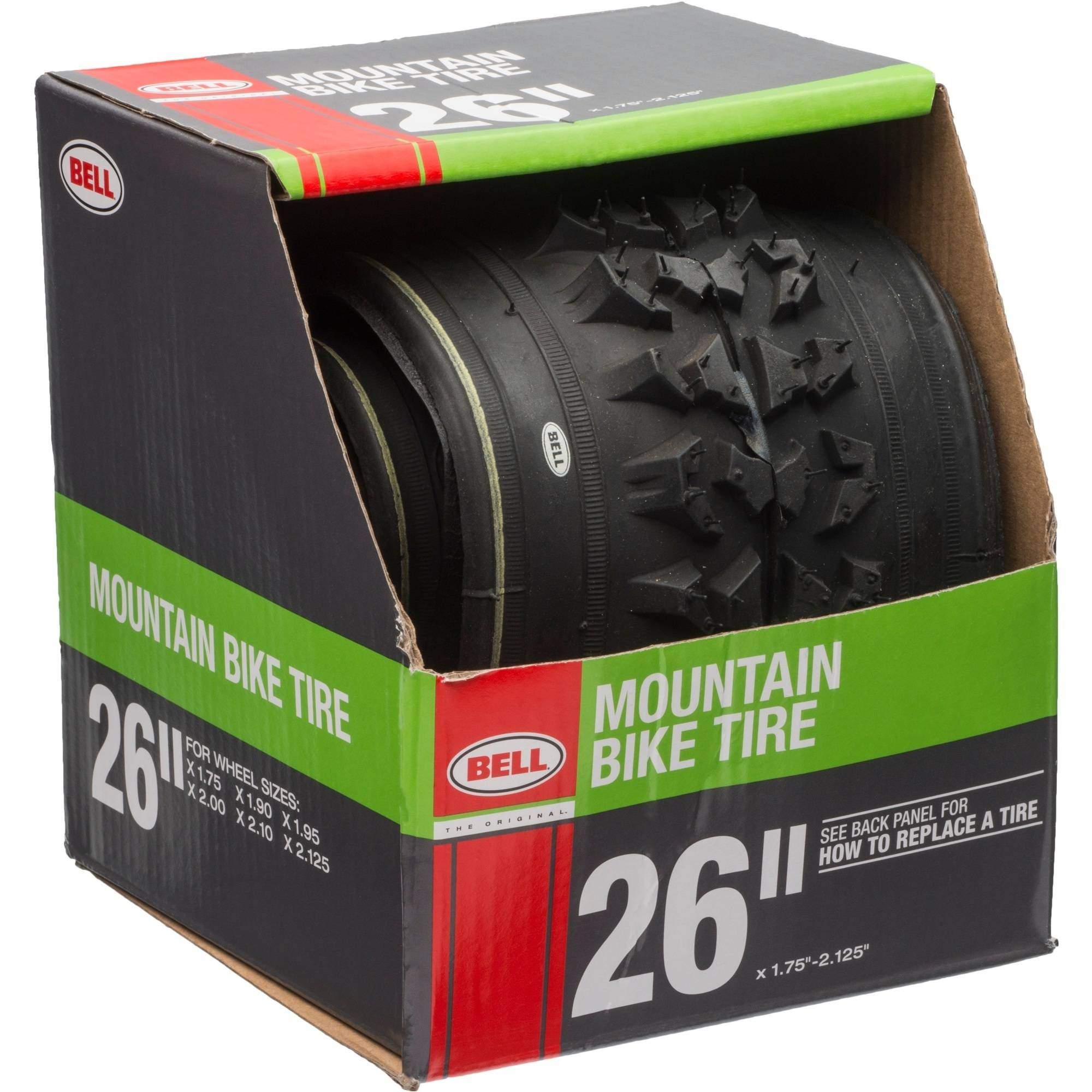 """Bell Sports Traction Mountain Bike Tire, 26"""" x 1.75-2.125"""", Black"""
