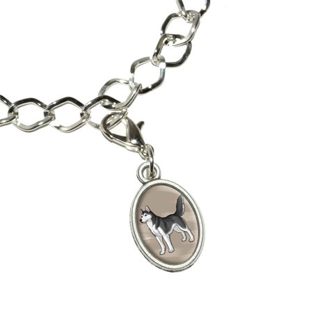 Siberian Husky - Pet Dog Oval Charm