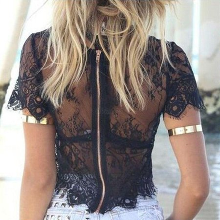 Sexy Women Blusas Femininas Short Sleeve V Neck Vintage Lace Blouse Hollow Out Zipper Back Crop Top Clubwear