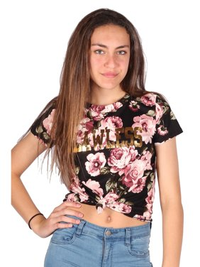 3a5b16860a6 Product Image Lori & Jane Girls Black Front Tie Short Sleeve Floral Trendy  T-Shirt